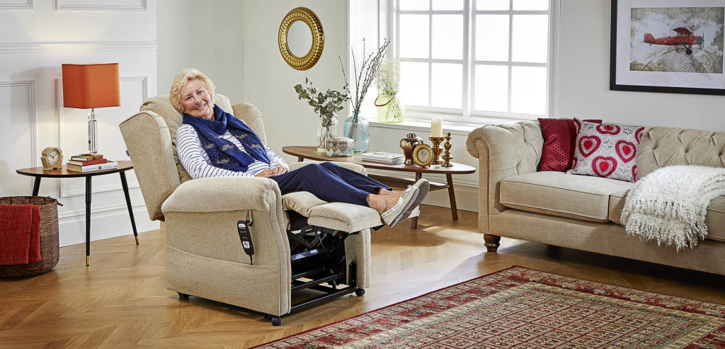 Lady using a Comfomatic adjustable chair